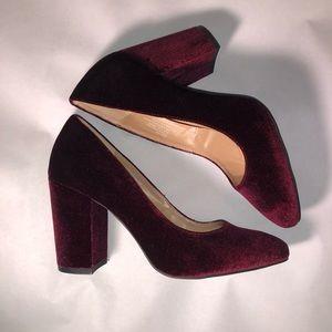 Plume by Farylrobin Velvet Chunky Heels